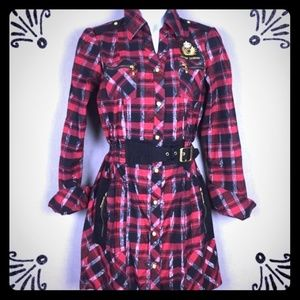 Coogi Preppy Checkered Shirt Dress